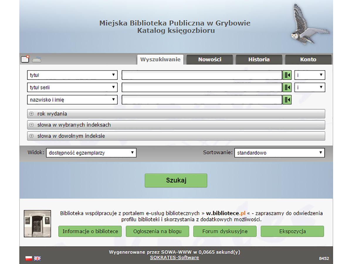 Katalog księgozbioru - Miejska Biblioteka Publiczna w Grybowie