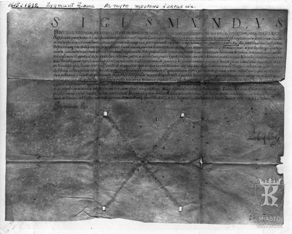 Zygmunt III Waza ''Na myto mostowe i skład win'' (1632)