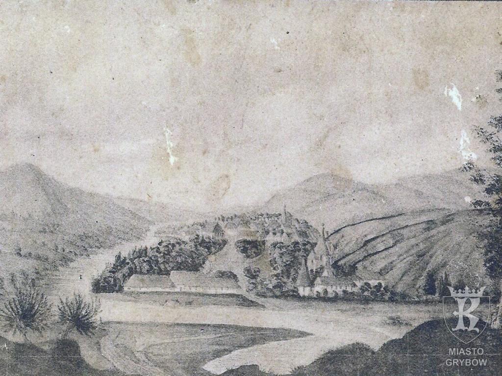 Ogólny widok miasta Grybowa (XVII wiek)