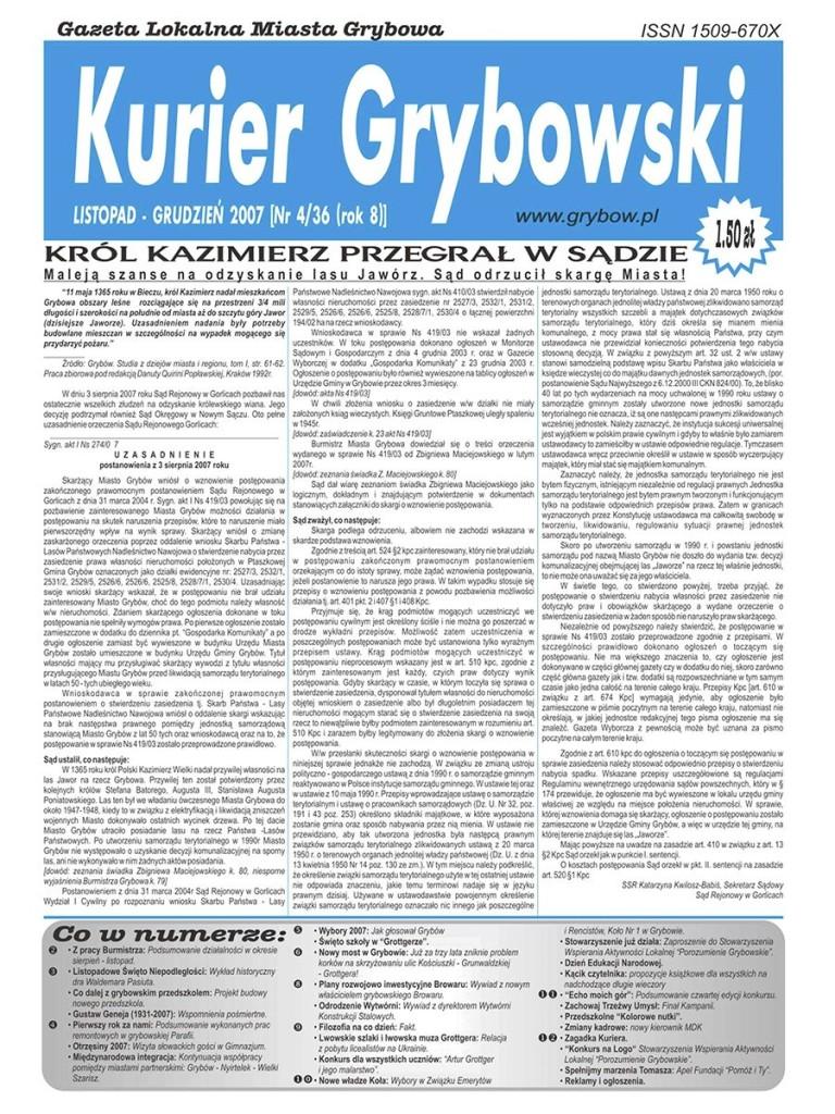 Kurier Grybowski (nr 36) - okładka