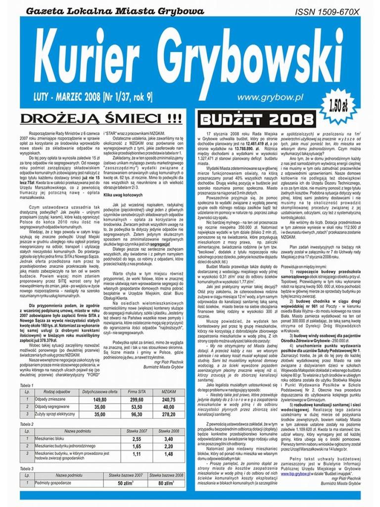 Kurier Grybowski (nr 37) - okładka