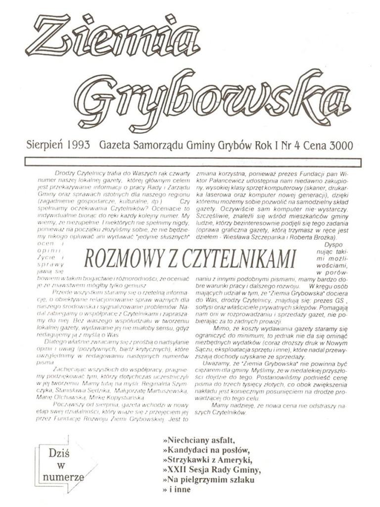 Ziemia Grybowska (nr 04) - I edycja (okładka)