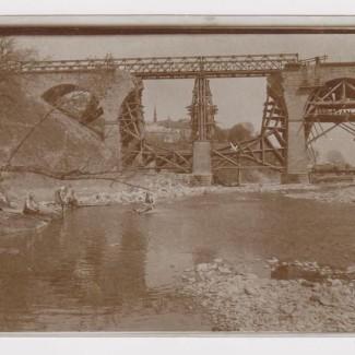 Grybów. Zniszczony most maj 1915 rok