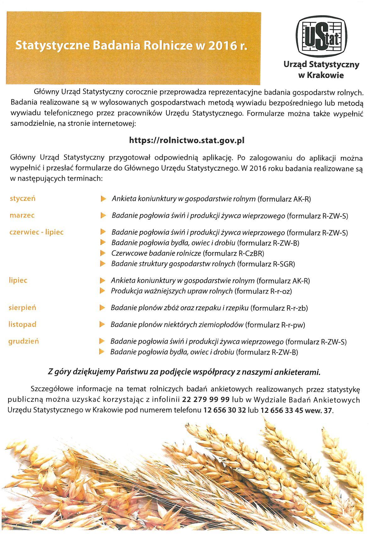GUS: Badania rolnicze