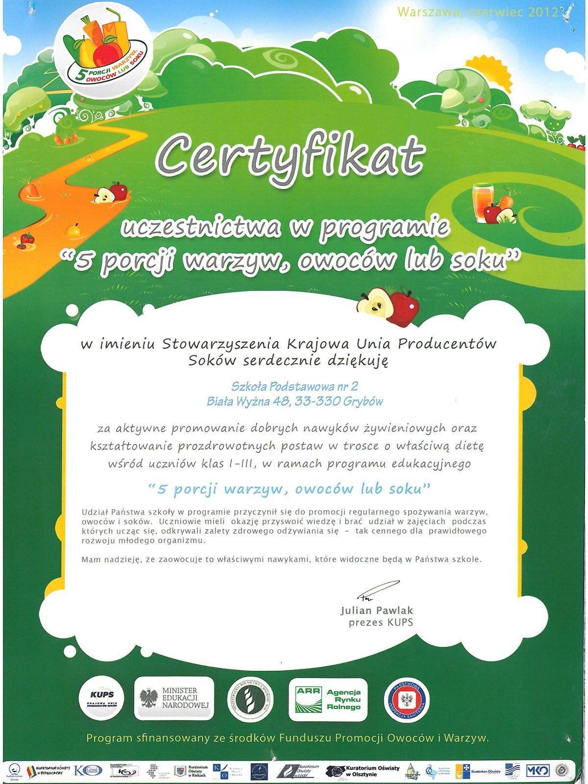 """Certyfikat """"5 porcji warzyw, owoców lub soku"""""""