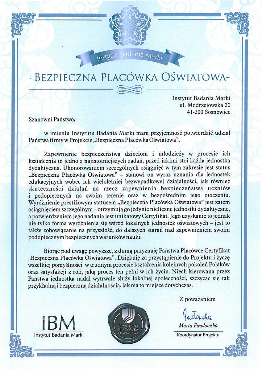 """Certyfikat """"Bezpieczna Placówka Oświatowa"""" dla Szkołu Podstawowej Nr2 wGrybowie"""