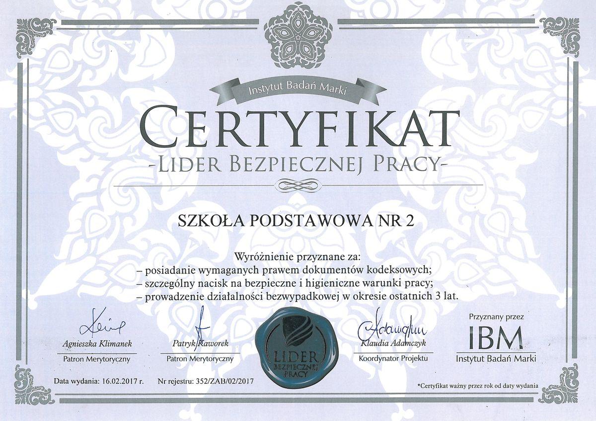 """Certyfikat """"Lider Bezpiecznej Pracy"""" dla Szkoły Podstawowej Nr 2 w Grybowie"""