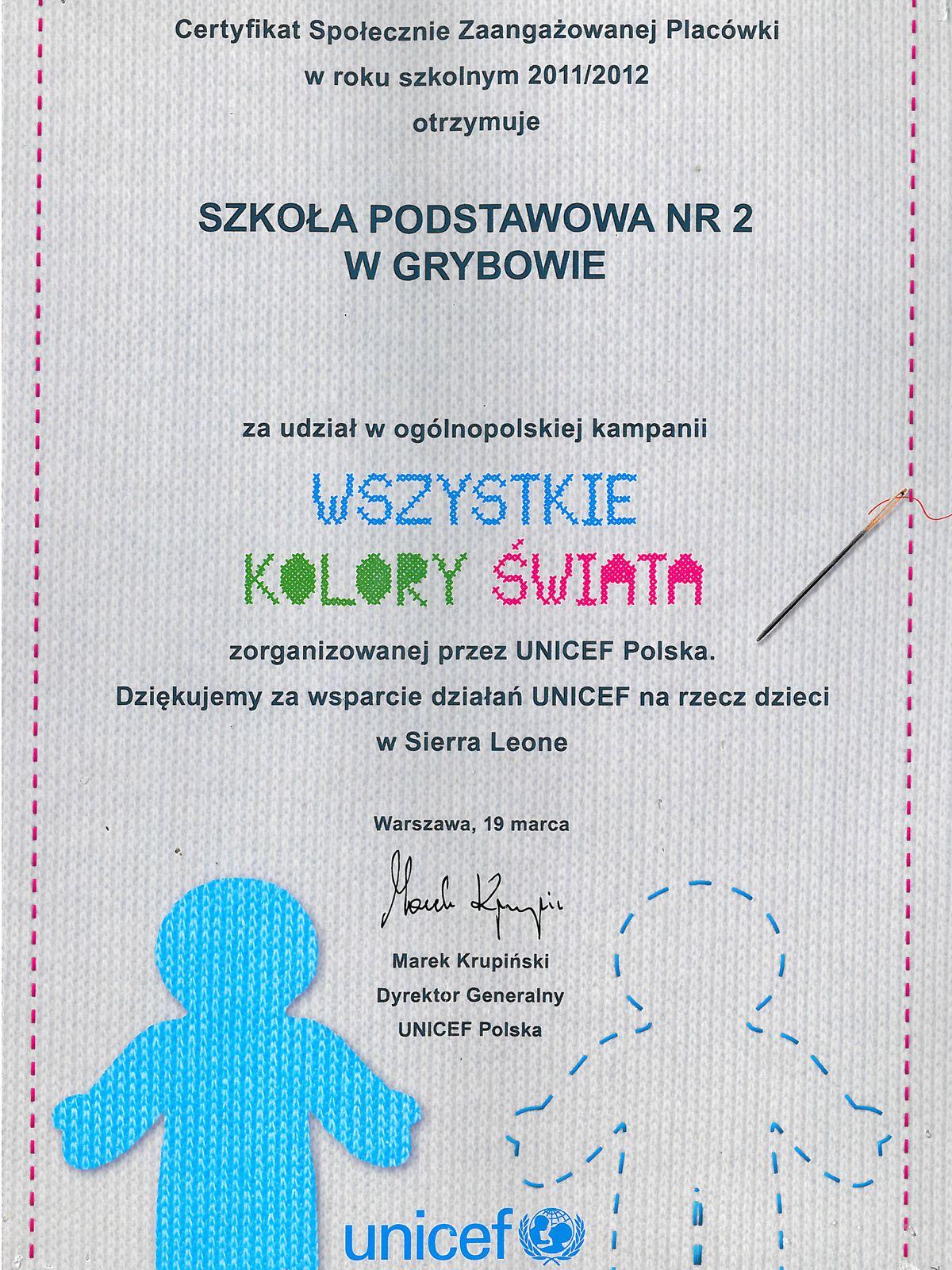 """Certyfikat """"Unicef - Wszystkie kolory świata"""""""