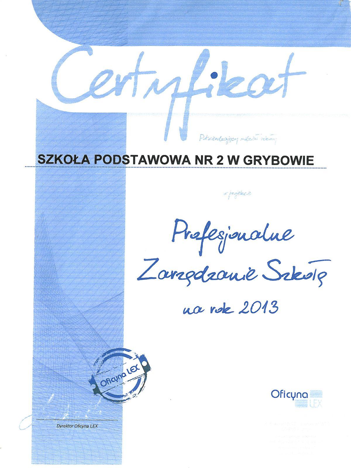 """Certyfikat """"Profesjonalne zarządzanie szkołą"""""""