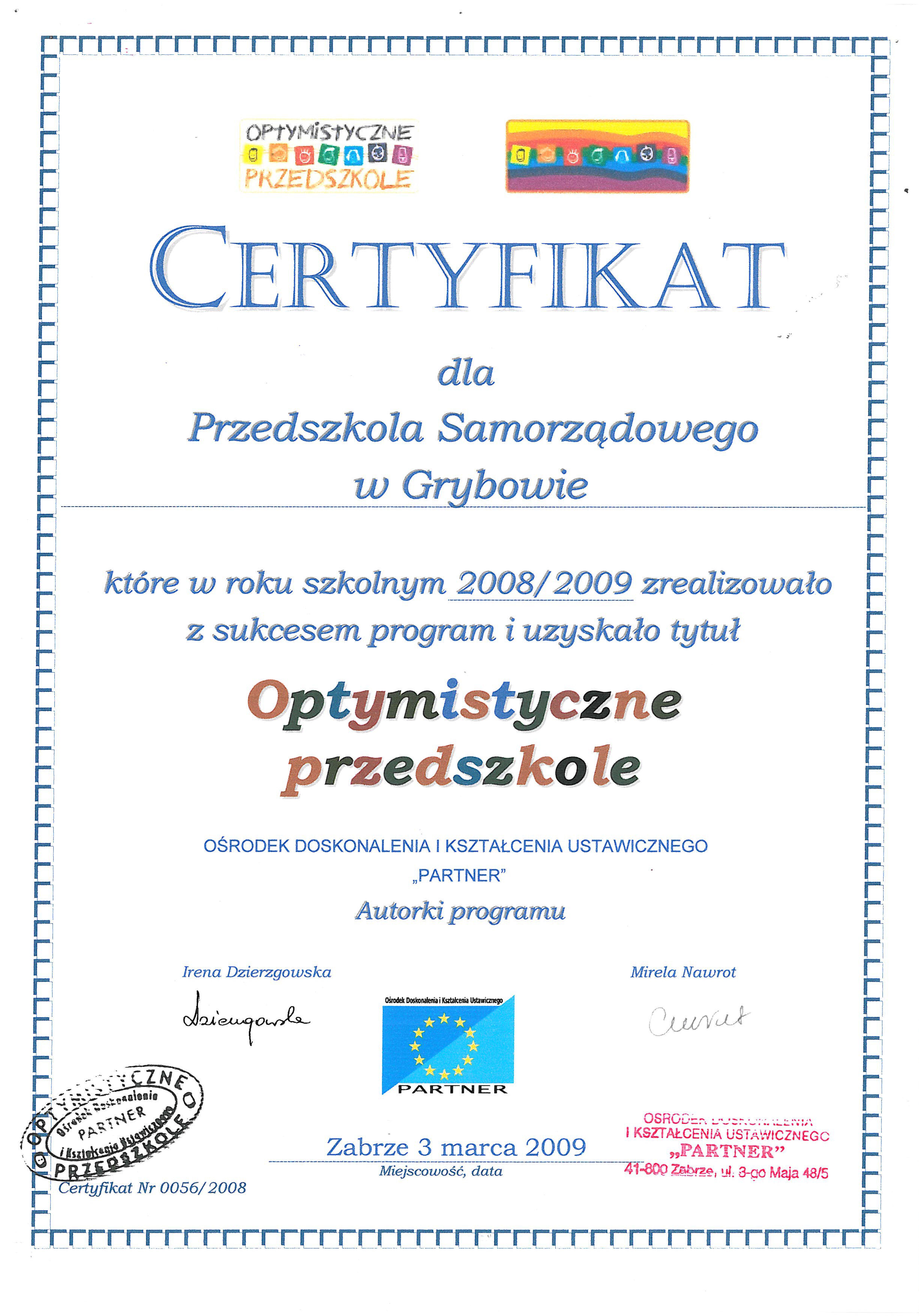 Przedszkole: Certyfikaty i wyróznienia