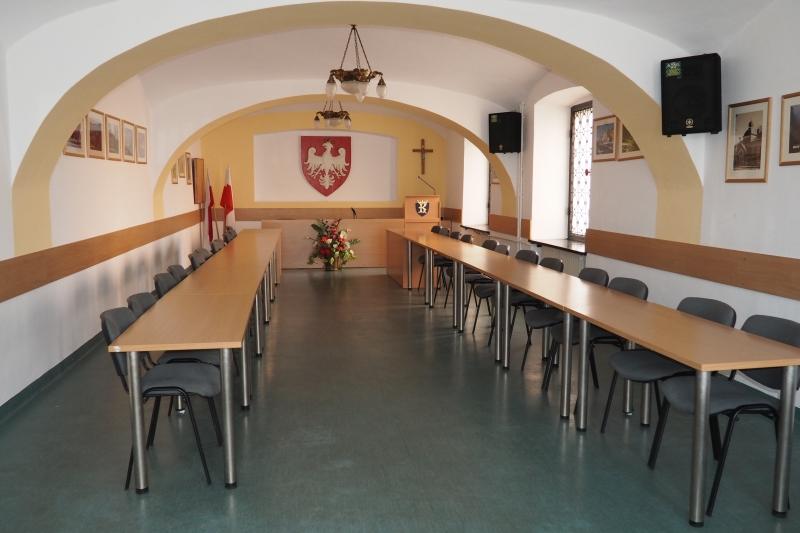 Sala posiedzeń Urzędu Miejskiego wGrybowie