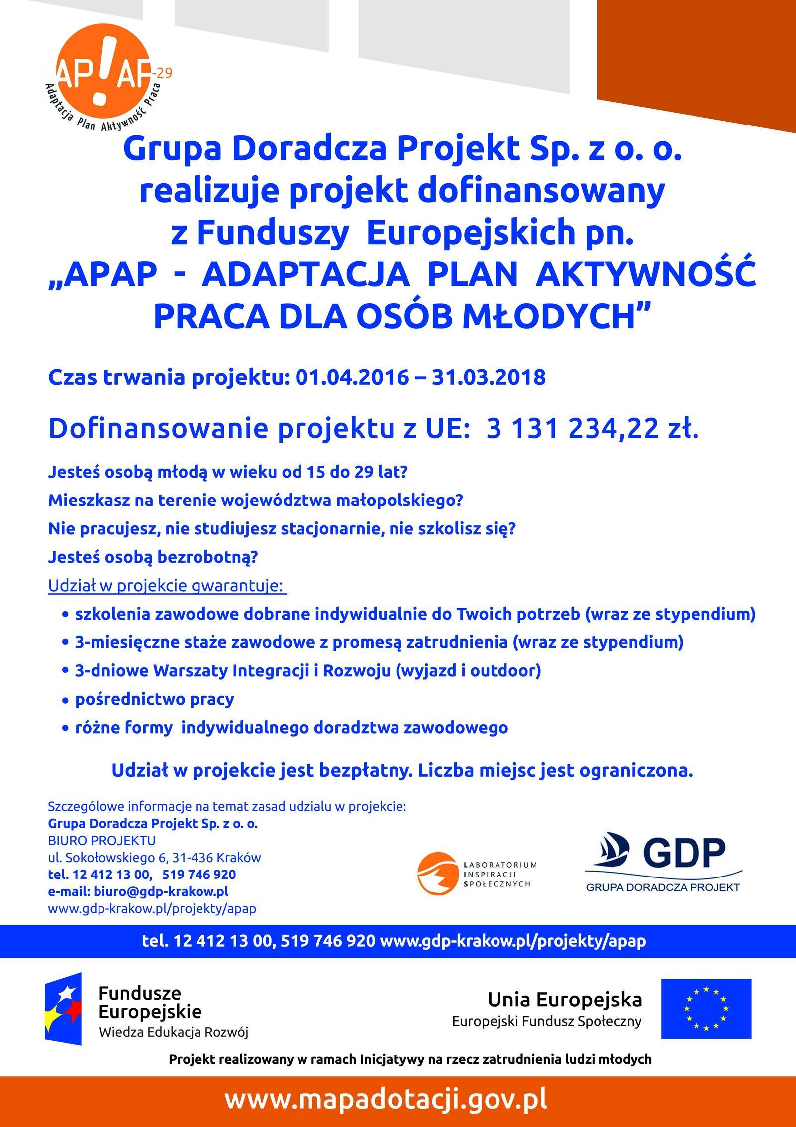 """Projekt """"ADAPTACJA PLAN AKTYWNOŚĆ PRACA dla osób młodych"""""""