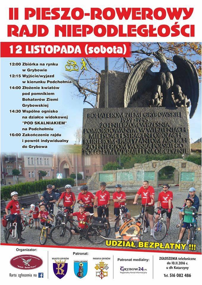 Plakat: II Pieszo-Rowerowy Rajd Niepodległości
