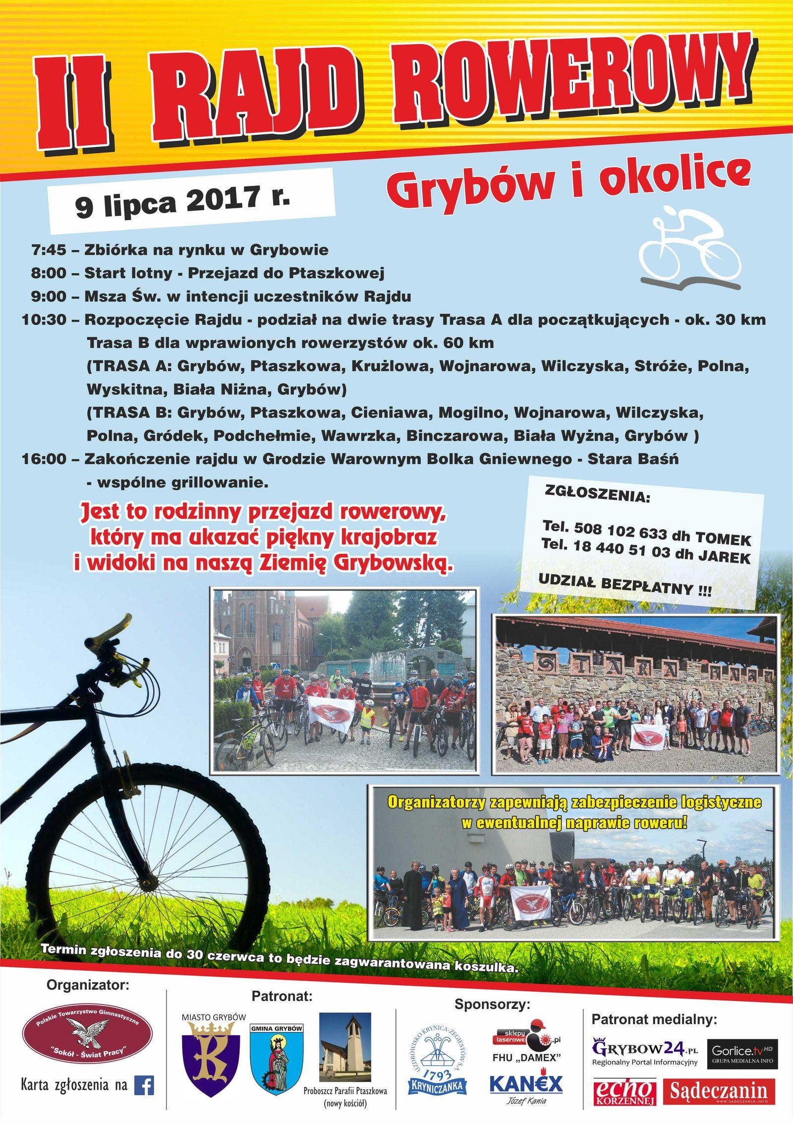 """Plakat: II Rajd Rowerowy """"Grybów i okolice"""""""