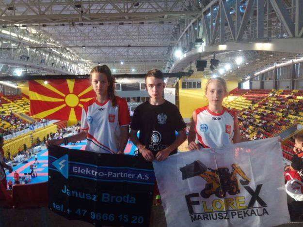 Mistrzostwa Europy Juniorów i Kadetów: Od lewej Karolina Krok, Szymon Góra i Julia Niewiadomska