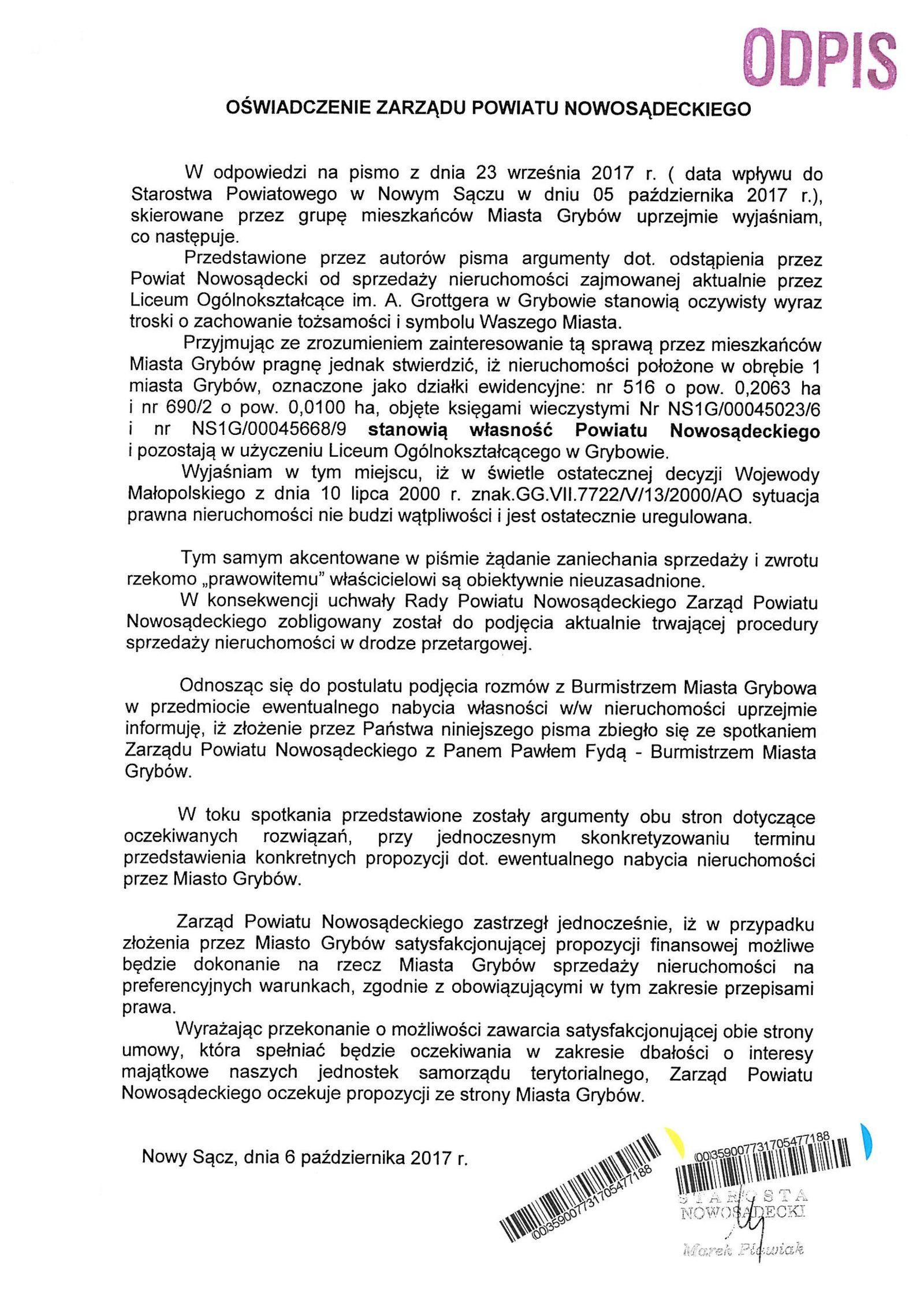 Oświadczenie Zarządu Powiatu Nowosądeckiego