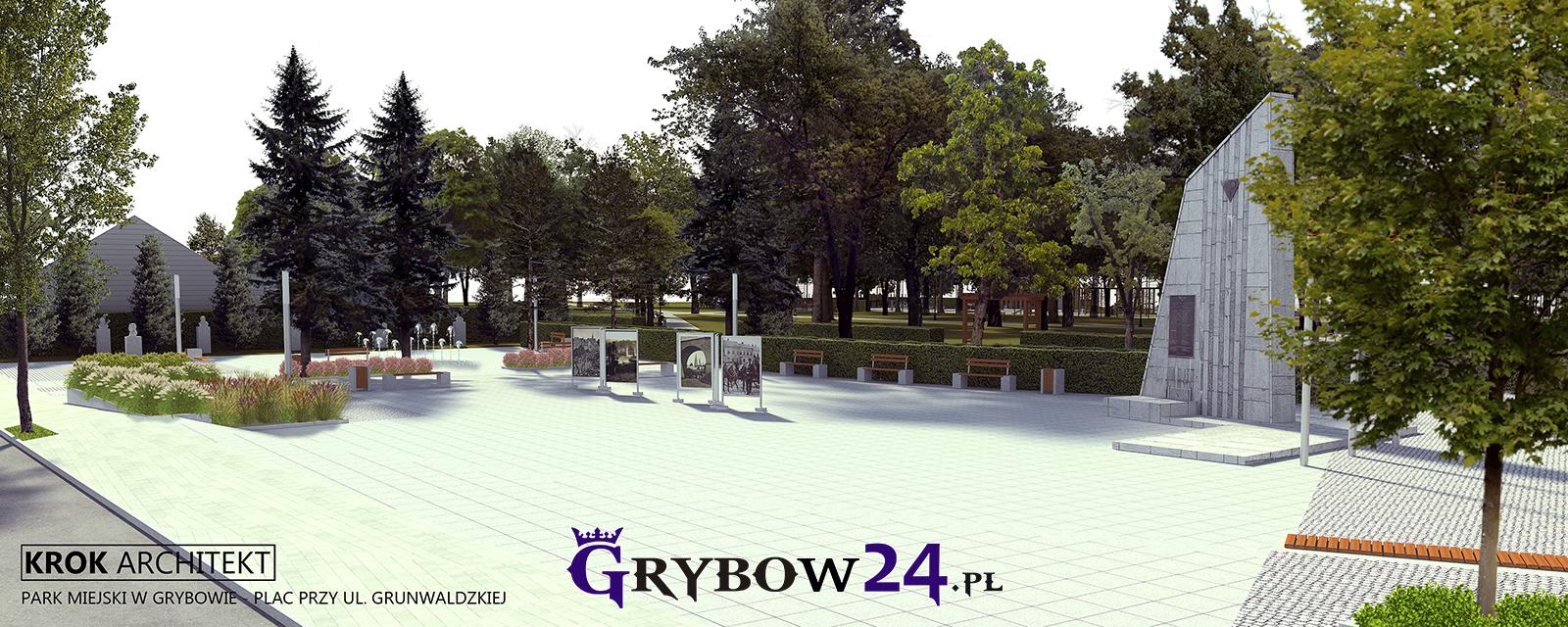 Rewitalizacja Parku Miejskiego w Grybowie (Wizualizacja KROK ARCHITEKT)