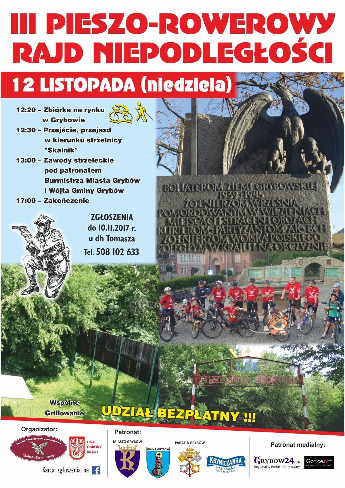 Plakat: III Pieszo-Rowerowy Rajd Niepodległości