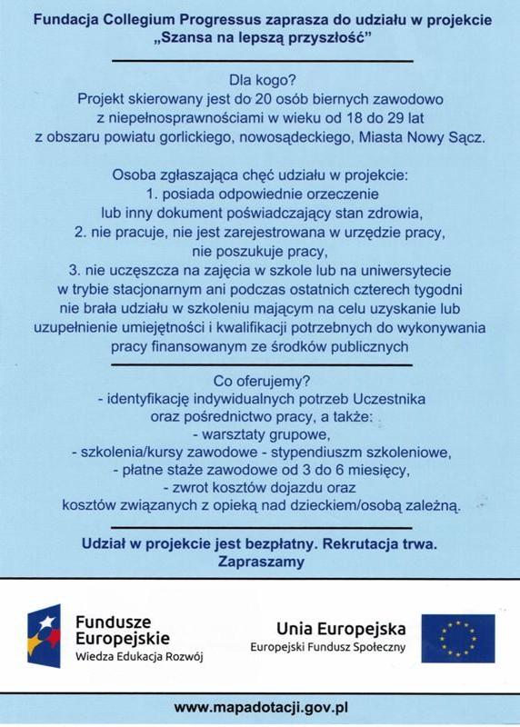 """Projekt """"SZANSA NALEPSZĄ PRZYSZŁOŚĆ"""""""