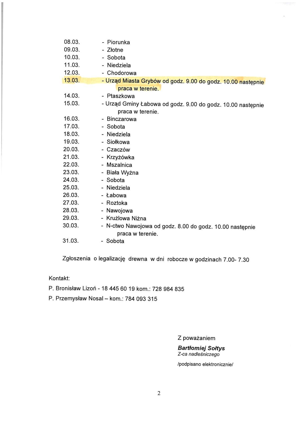 Harmonogram pracy leśniczego (marzec)