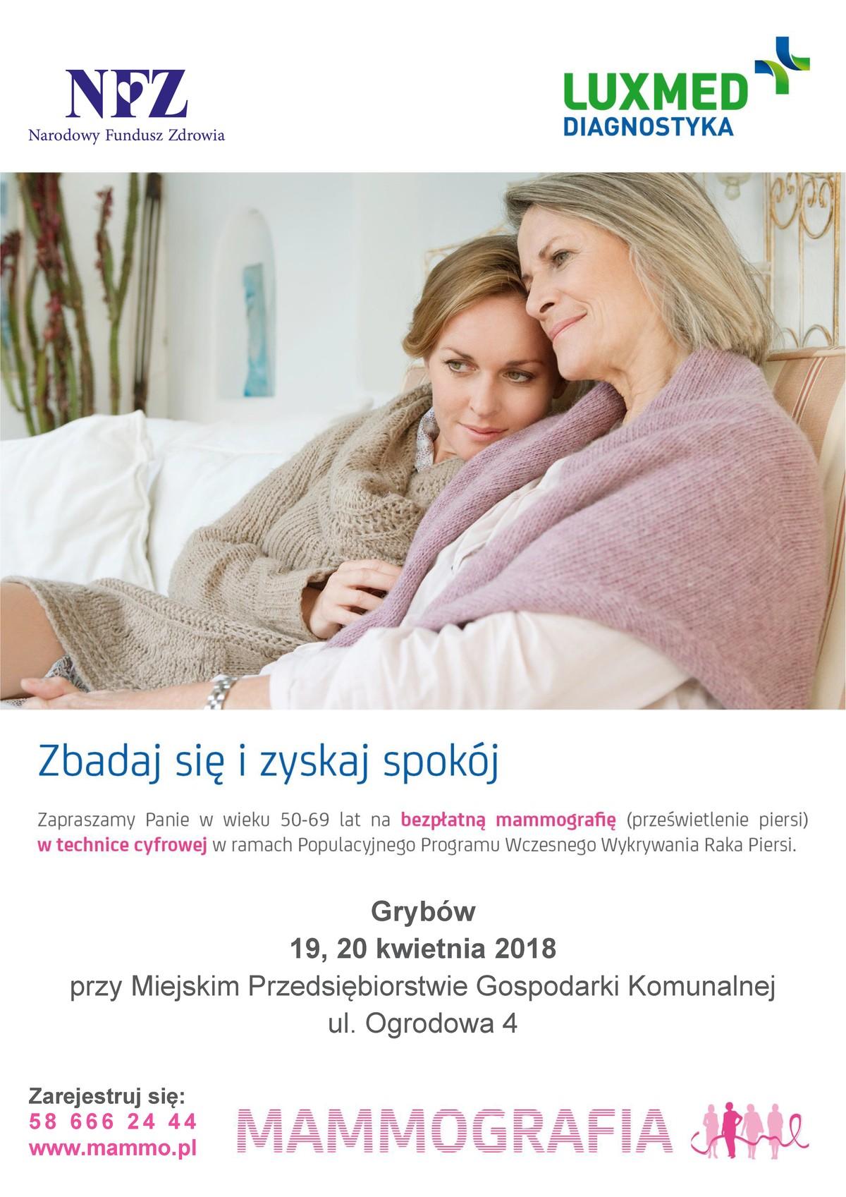Wykonaj bezpłatną mammografie wGrybowie!