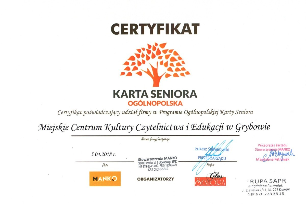 Certyfikat: Ogólnopolska Karta Seniora