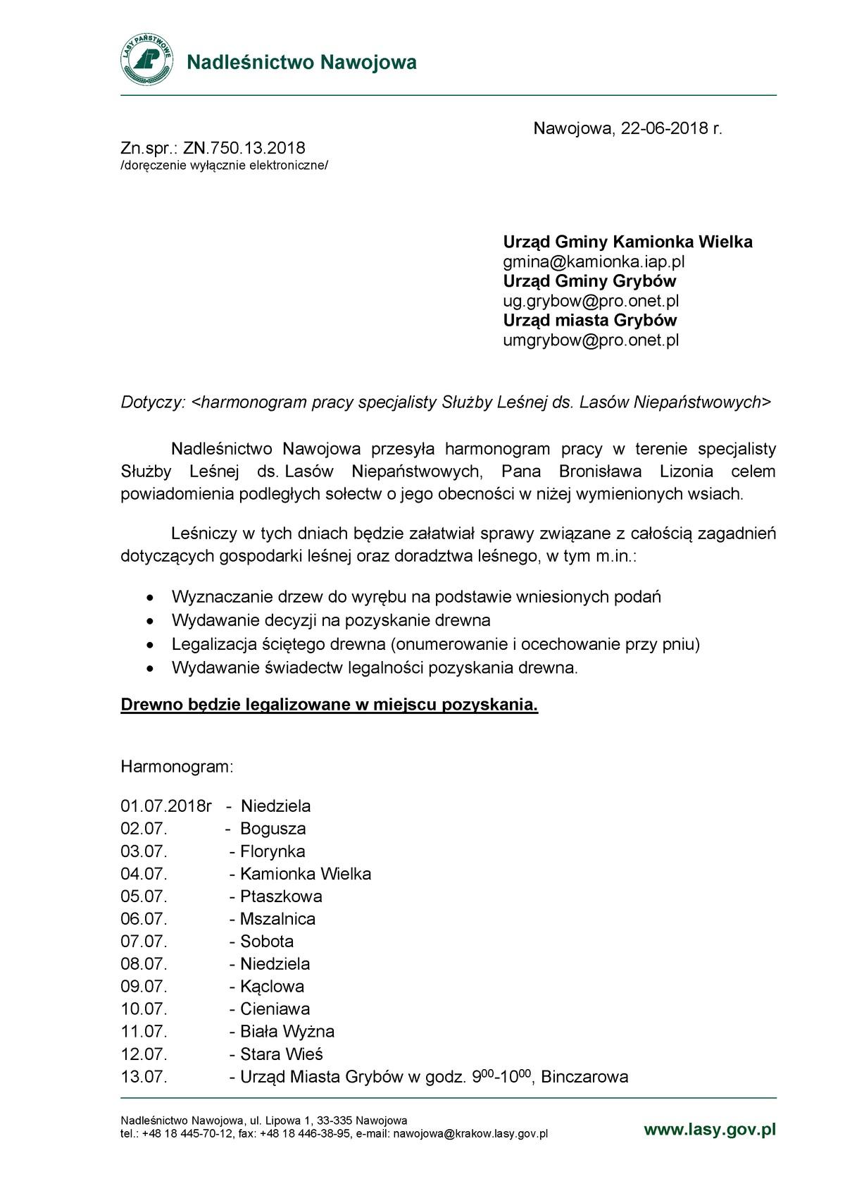 Harmonogram pracy leśniczego (lipiec 2018)