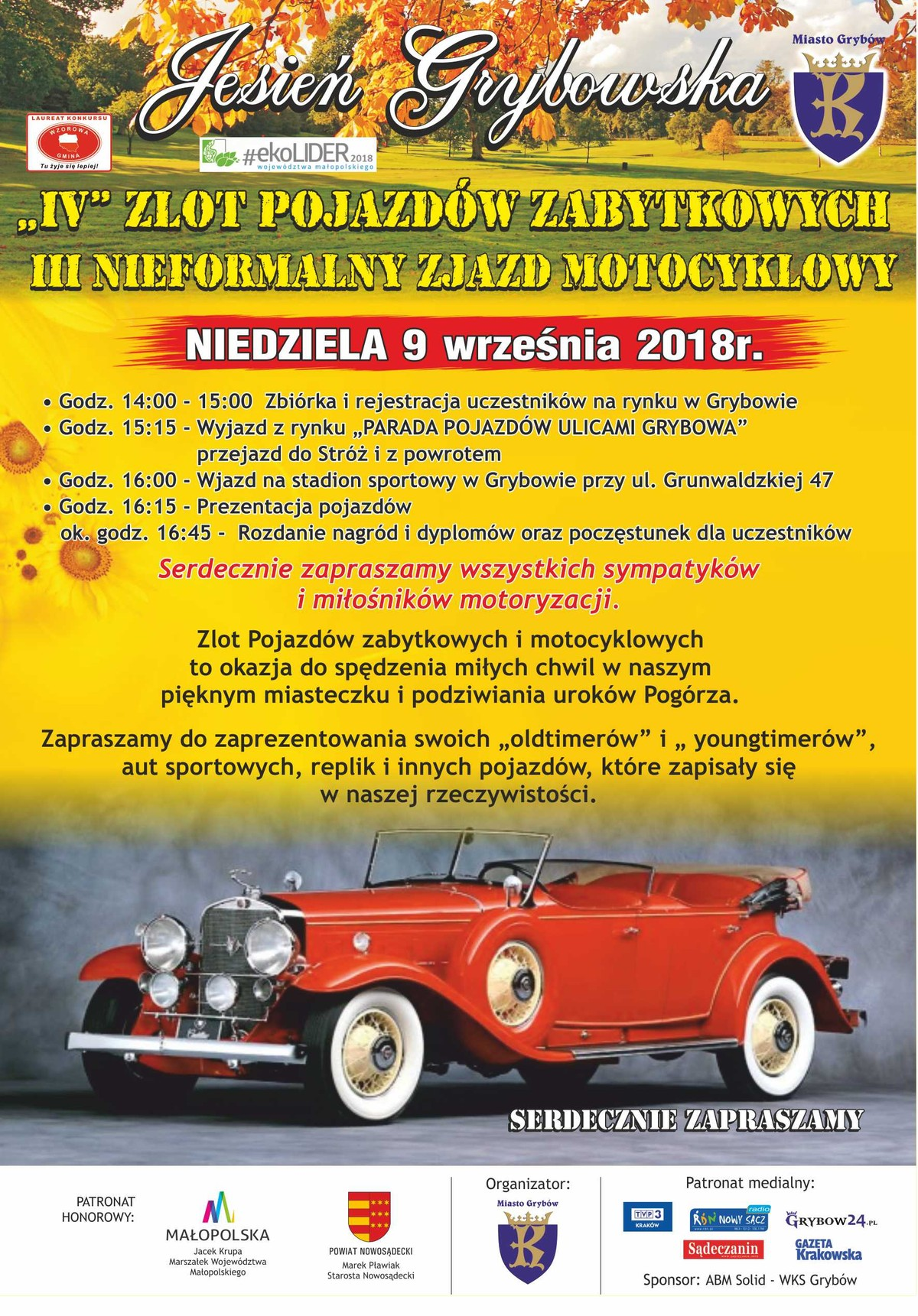 Jesień Grybowska 2018: IV Zlot Pojazdów Zabytkowych orazIII Nieformalny Zjazd Motocyklowy