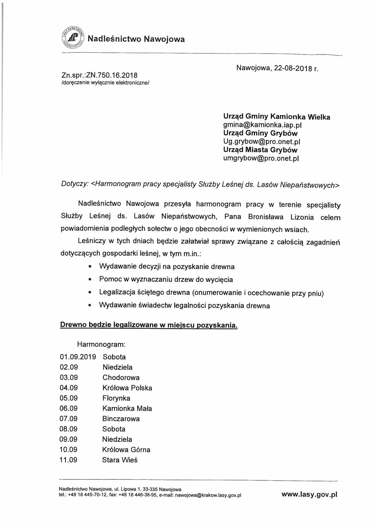 Harmonogram pracy leśniczego (wrzesień 2018)