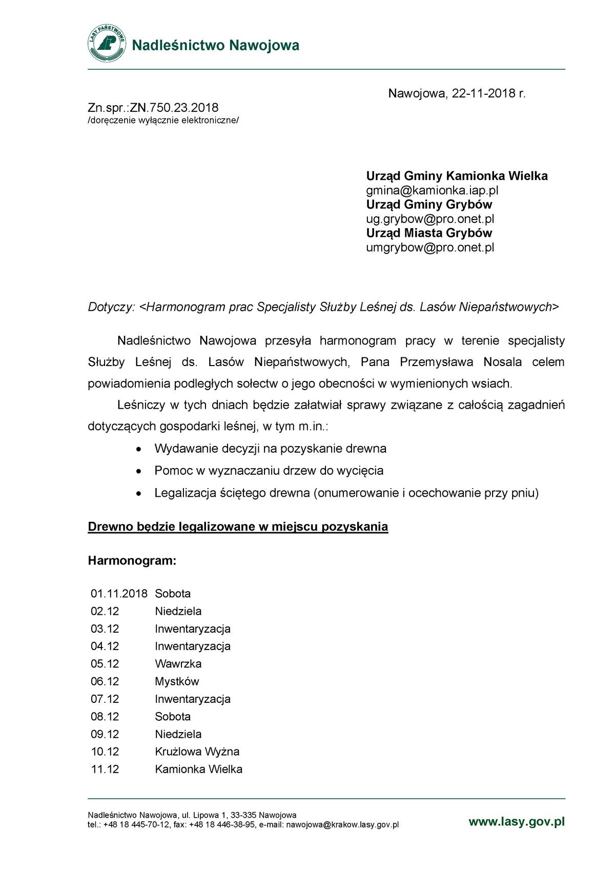 Harmonogram pracy leśniczego (grudzień 2018)