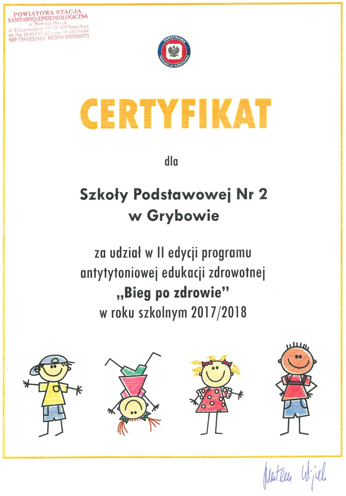 """Certyfikat """"Bieg po zdrowie"""""""