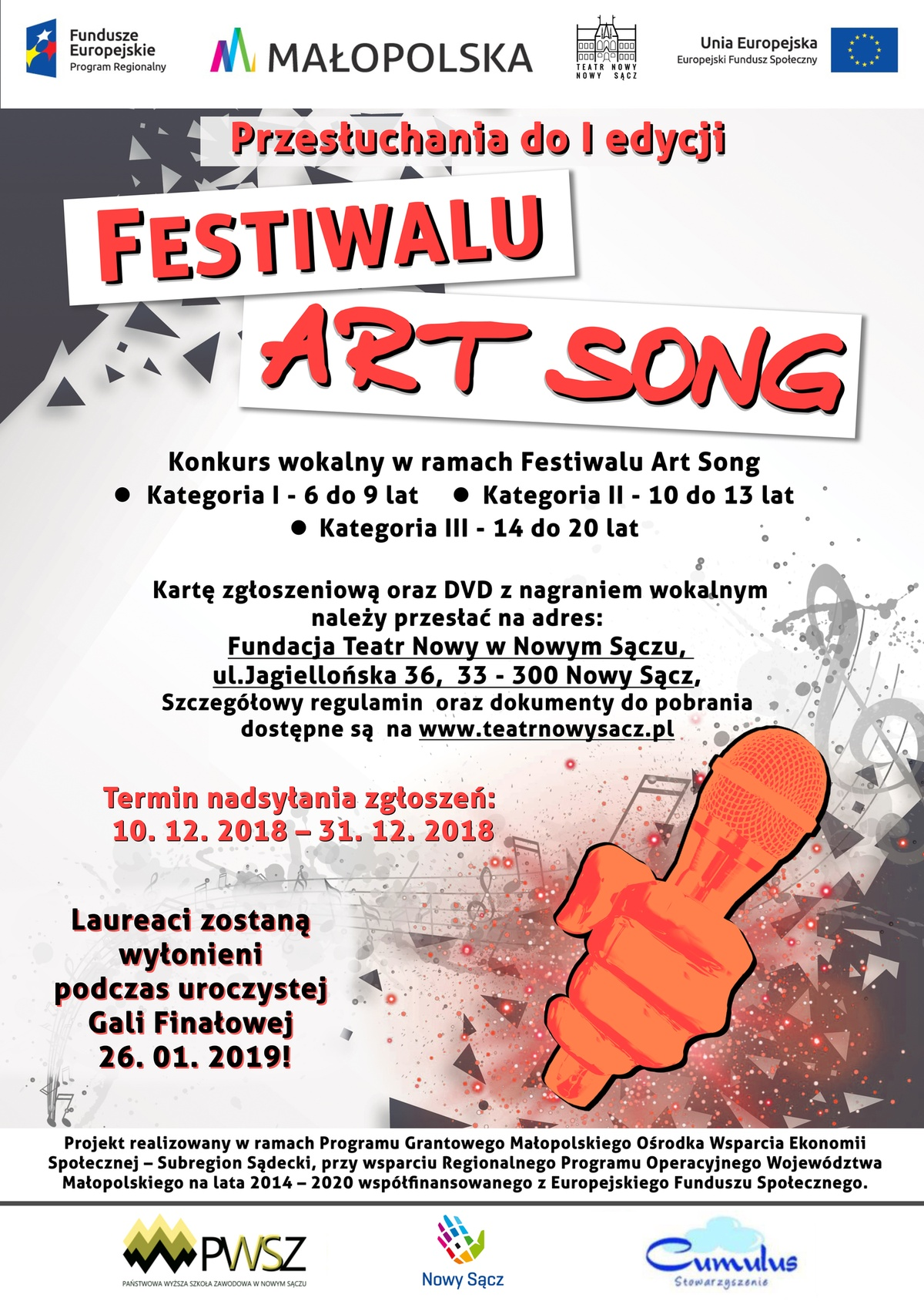 """Plakat """"Festiwal Art Song"""""""