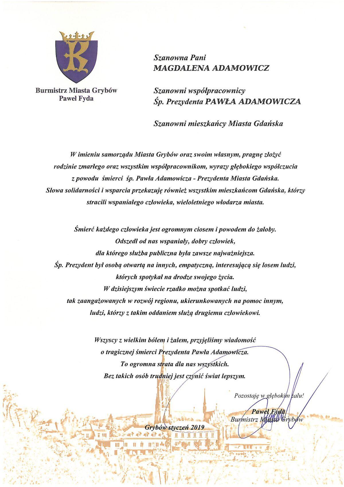 List Burmistrza Miasta Grybów