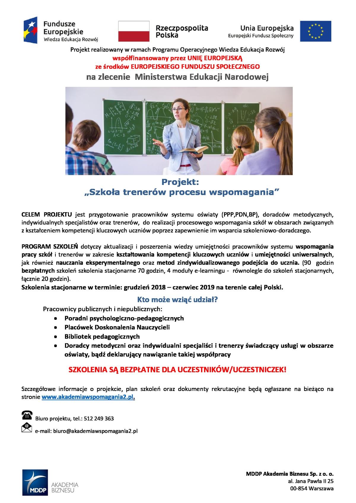 """Projekt """"Szkoła trenerów procesu wspomagania"""""""