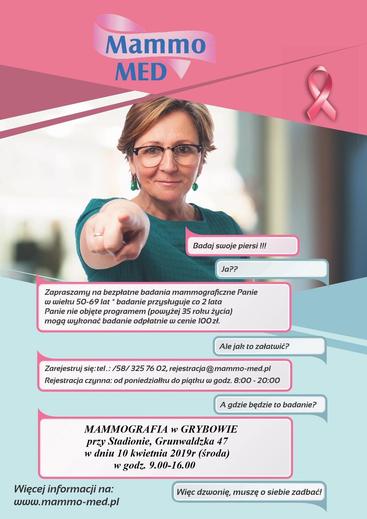 Badaj swoje piersi! Mammografia w Grybowie