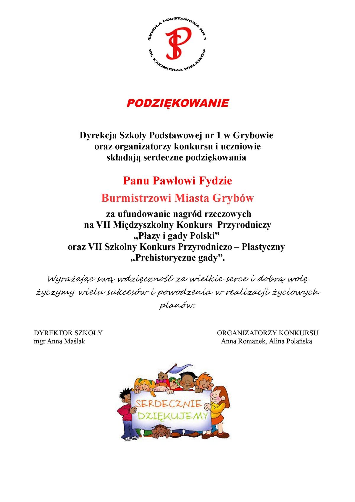 VII Międzyszkolny Konkurs Przyrodniczy: Podziękowanie dla Burmistrza Miasta Grybów