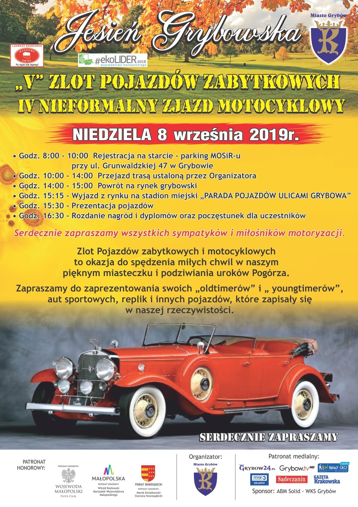 Jesień Grybowska 2019: V Zlot Pojazdów Zabytkowych orazIV Nieformalny Zjazd Motocyklowy