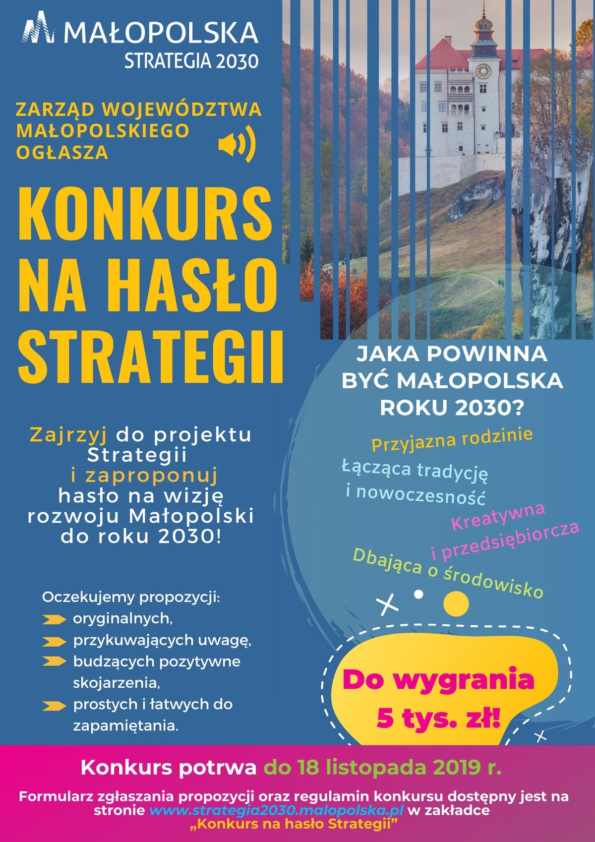 """Konkurs nahasło Strategii Rozwoju Województwa """"Małopolska 2030"""""""