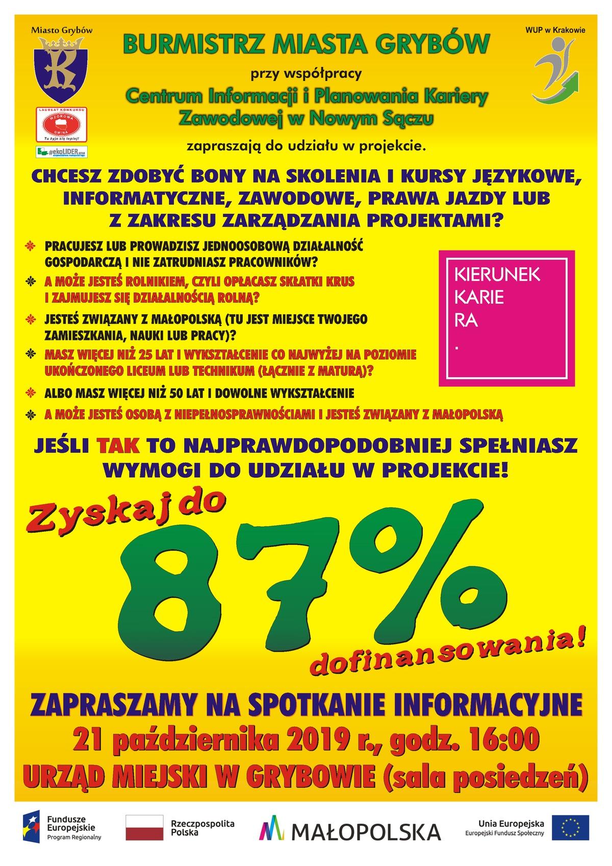 """Projekt """"Kierunek Kariera"""": Szkolenia zabony wMałopolsce"""