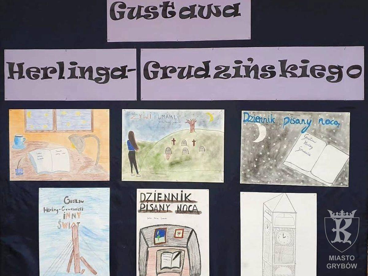 """2019-09: Wystawa """"Dziecięca interpretacja twórczości Gustawa Herlinga-Grudzińskiego"""" w SP1"""