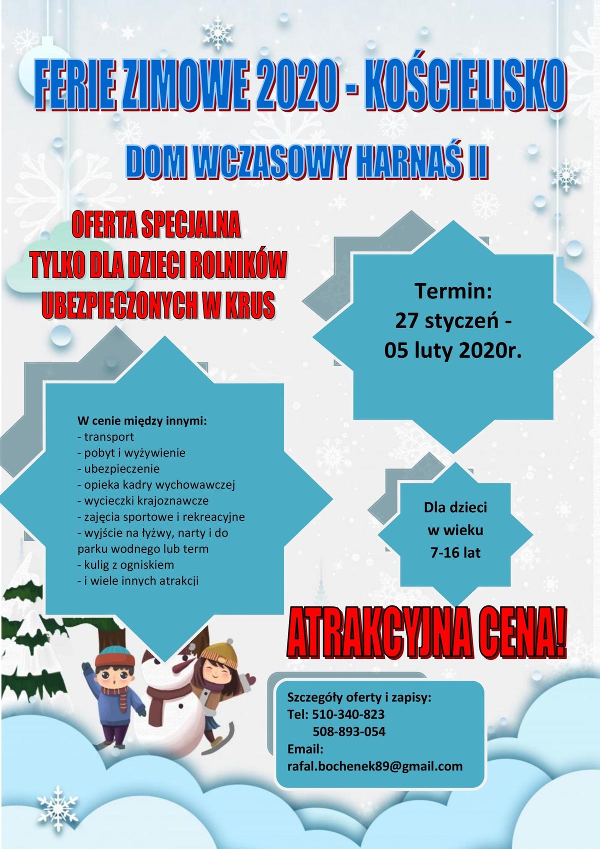 Plakat - Ferie zimowe 2020 wKościelisku