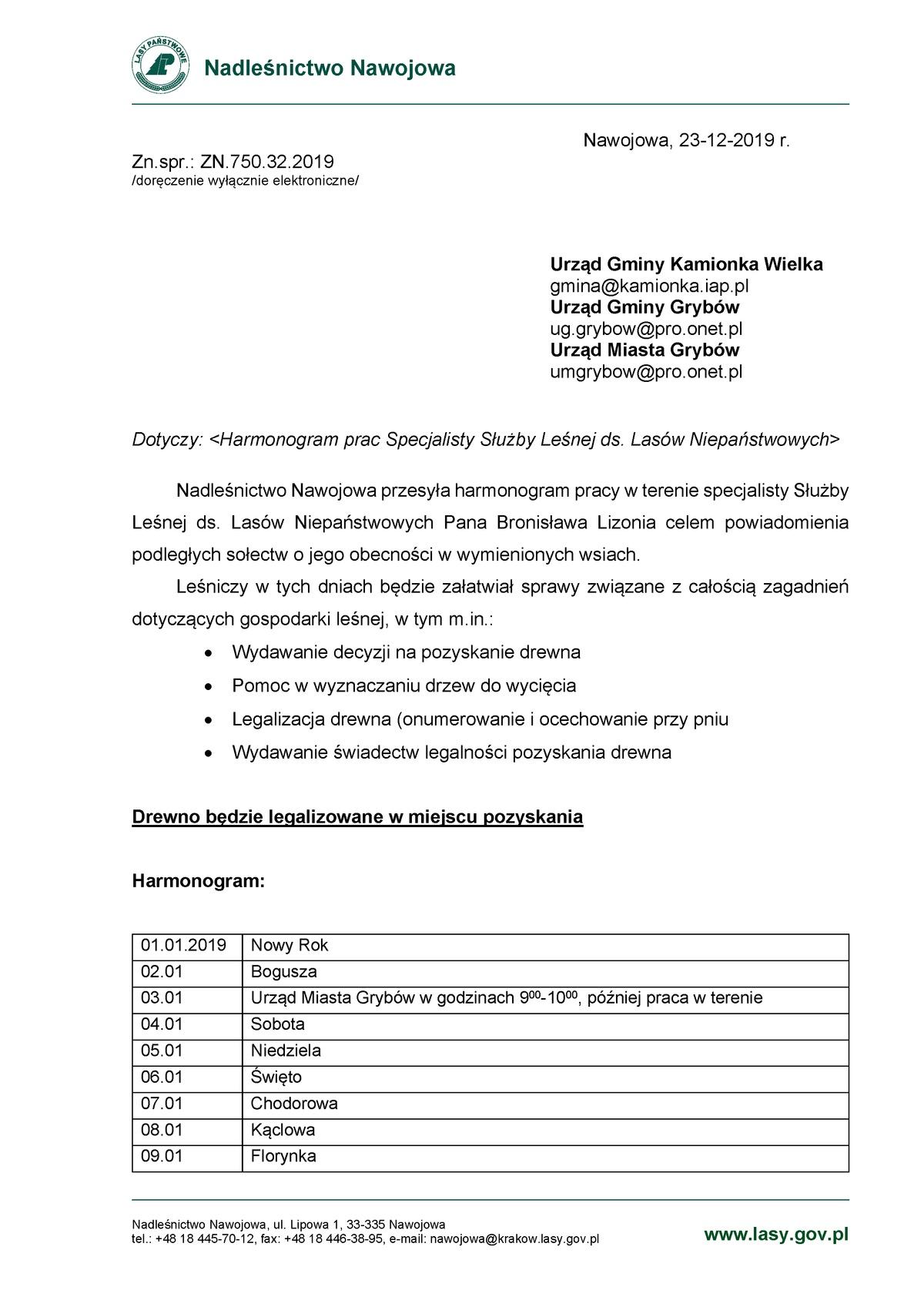 Harmonogram pracy leśniczego: Styczeń 2020
