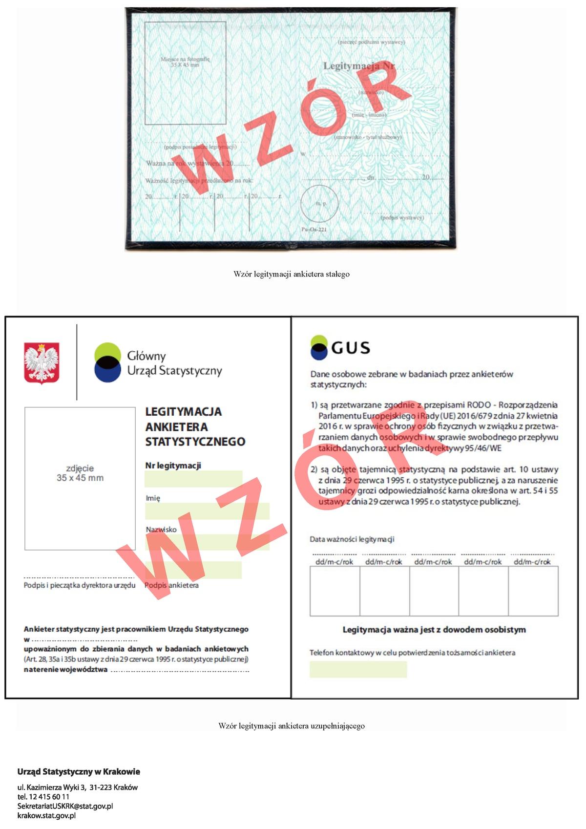 Badania ankietowe naterenie Małopolski - wzór legitymacji
