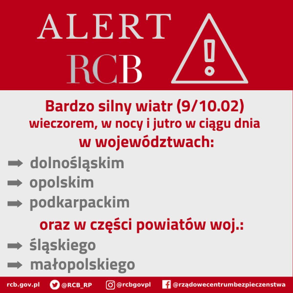 Alert RCB wdniach 09/10 lutego 2020 roku