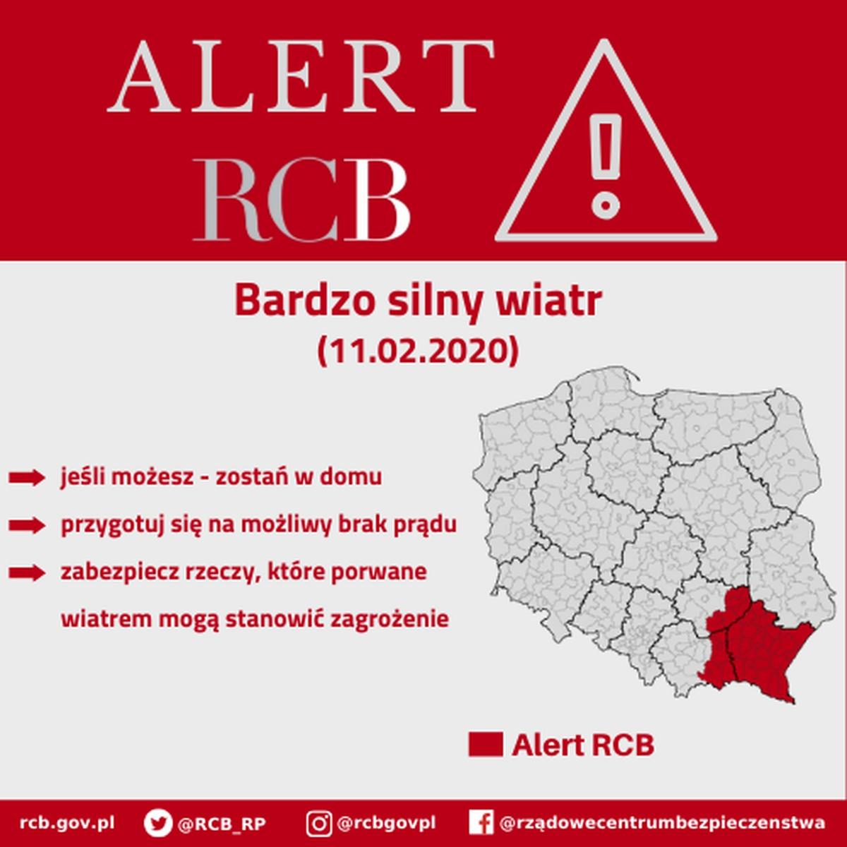 Alert RCB wdniu 11 lutego 2020 roku