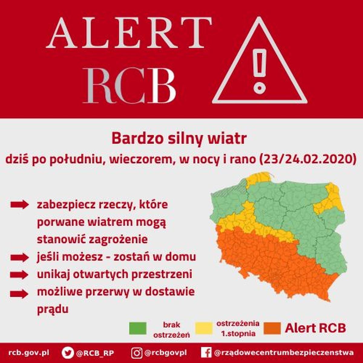 Alert RCB wdniu 23 lutego 2020 roku