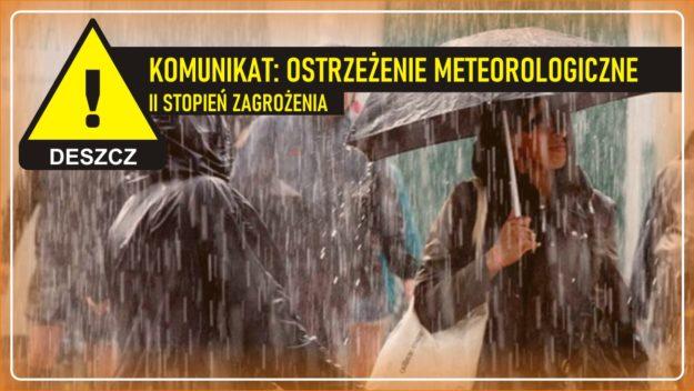 Komunikat pogodowy: Ostrzeżenie meteorologiczne - DESZCZ (II stopień zagrożenia)