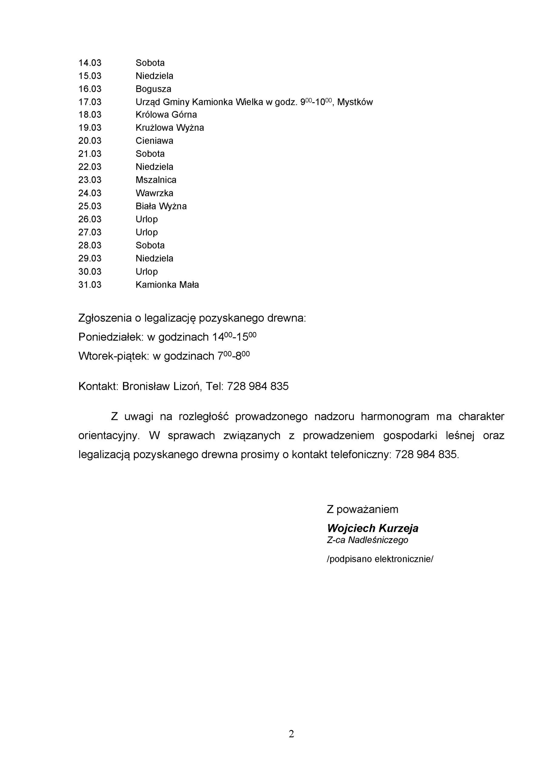 Harmonogram pracy leśniczego: Marzec 2020