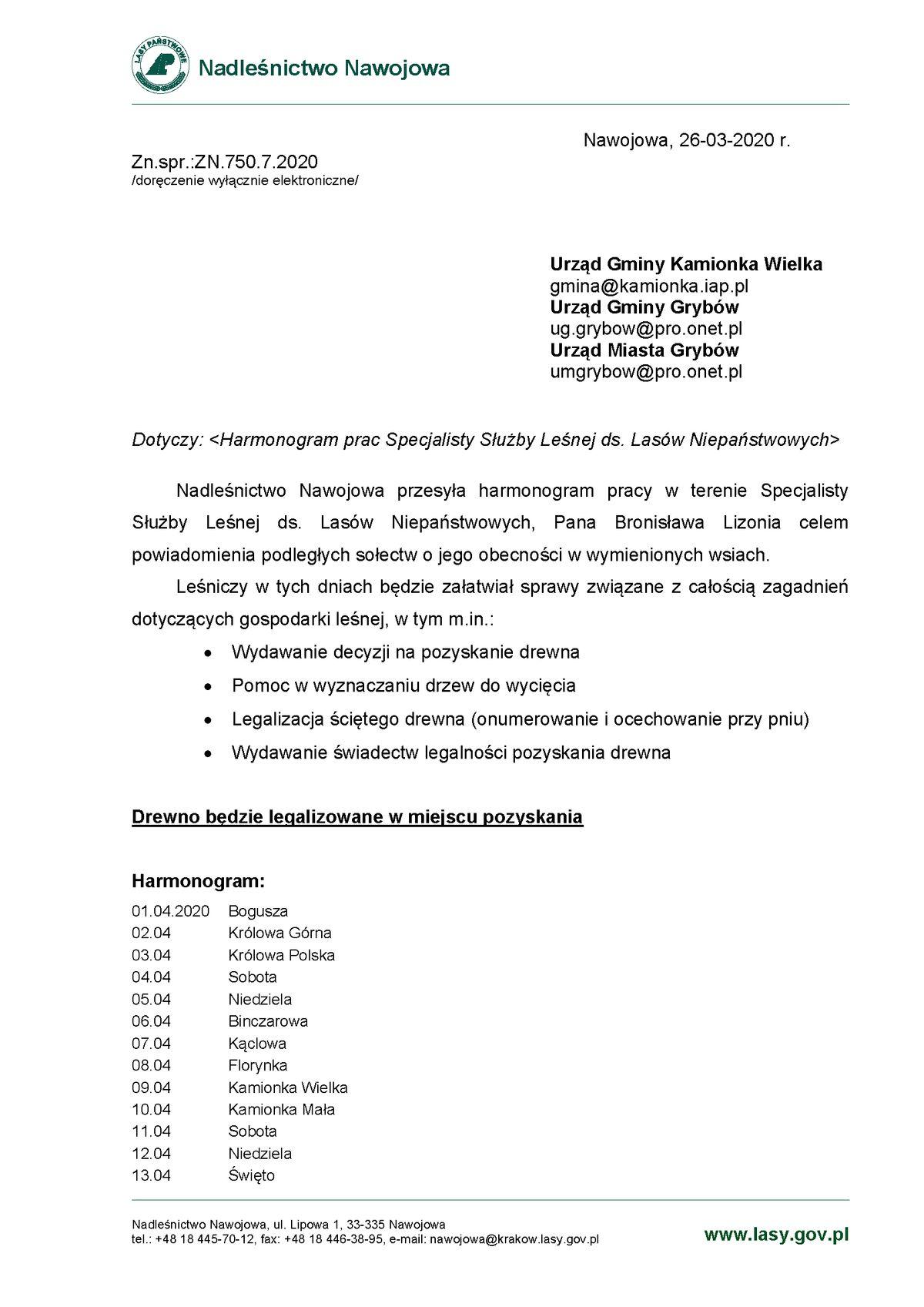 Harmonogram pracy leśniczego: Kwiecień 2020
