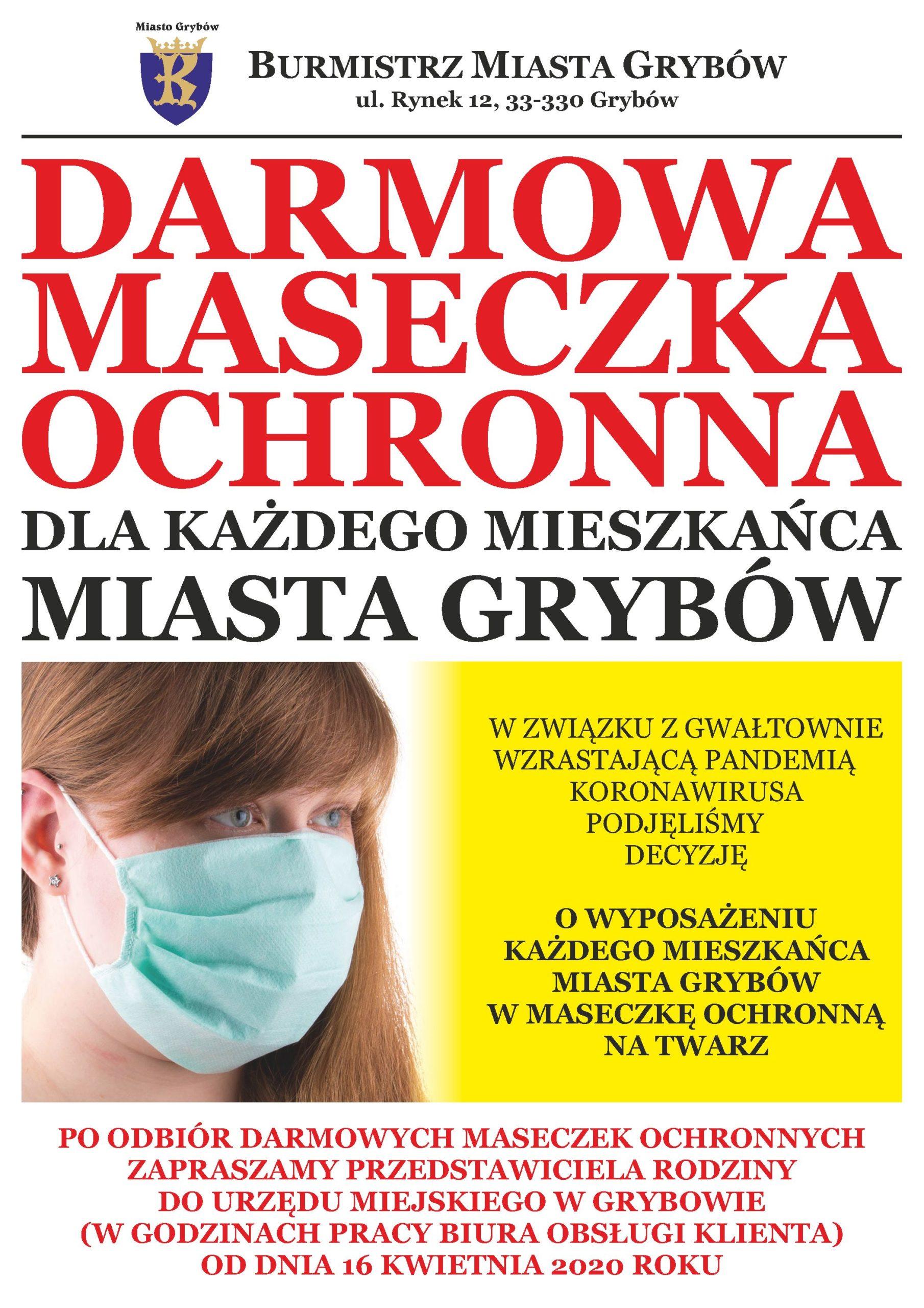 Plakat informacyjny: Darmowa maseczka ochronna dla każdego Mieszkańca Miasta Grybów